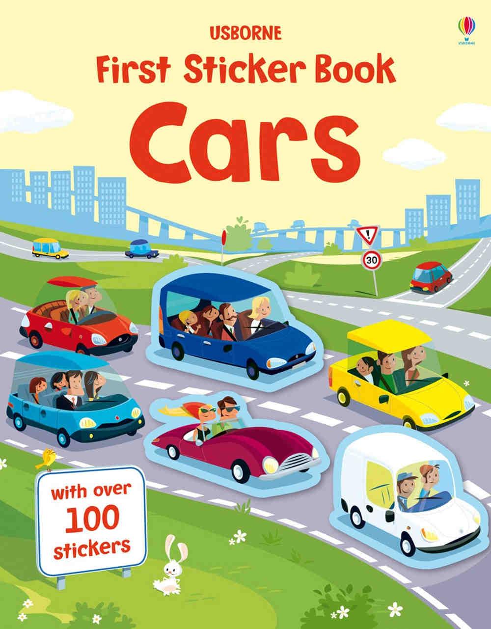 książka z naklejkami o samochodach