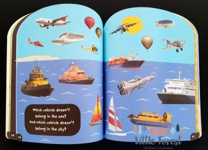książka z naklejkami o pojazdach dla chłopca