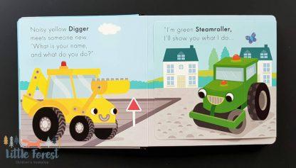 książka dźwiękowa o pojazdach i autach