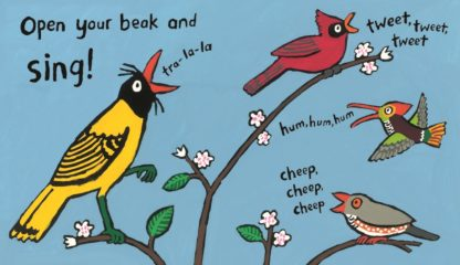 "Peck, hop, flap and make some noise in this story full of colour, rhyme and feathered friends – now in paperback! Flap your wings, fly up high, open your beak and sing in this fun action rhyme story about fantastical birds by multi-award-winning author Lucy Cousins. ""Can you imagine ... just for one day ... you're a busy bird? Yes, a bird! Hooray!"" Can you stand on one leg like a flamingo or waddle like a penguin? How about say ""cock-a-doodle-doo!"", ""tuwit-tuwoo"" and even ""tra-la-la""? What a busy day you will have! A bouncy read-aloud book to be enjoyed; beautifully illustrated with bold, bright colours and packed with all sorts of wild and wonderful birds!"