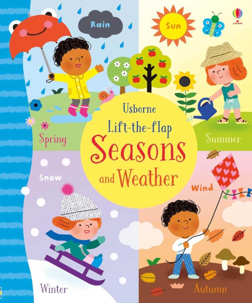 książka z okienkami o porach roku i pogodzie dla dzieci po angielsku