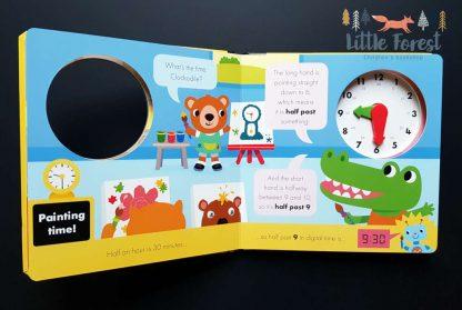 nauka zegara dla przedszkolaka książka z zegarem po angielsku