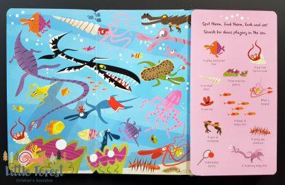 książka dla dzieci szukaj szczegółów z rozkładanymi stronami o dinozaurach