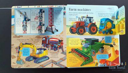 książka edukacyjna z okienkami dla dzieci jak działają maszyny