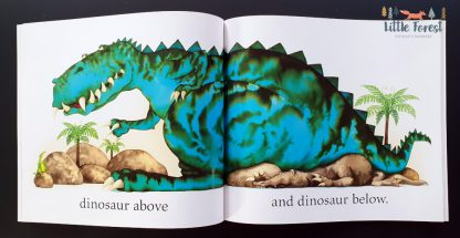 książka dla dzieci po angielsku do nauki przeciwieństw o dinozaurach