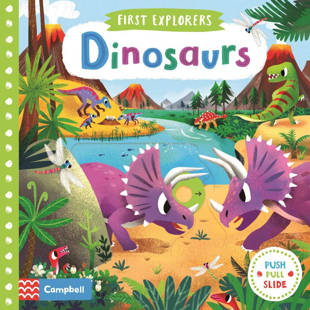 ksiązka dla roczniaka i dwulatka dinozaury ruchome elementy po angielsku