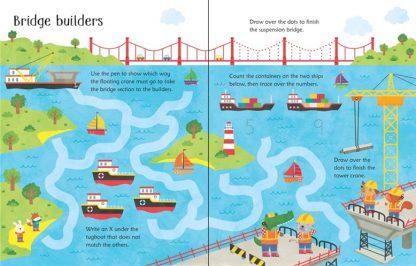 ksiązka ćwiczenia dla dzieci po angielsku z pisakiem suchościeralnym pojazdy